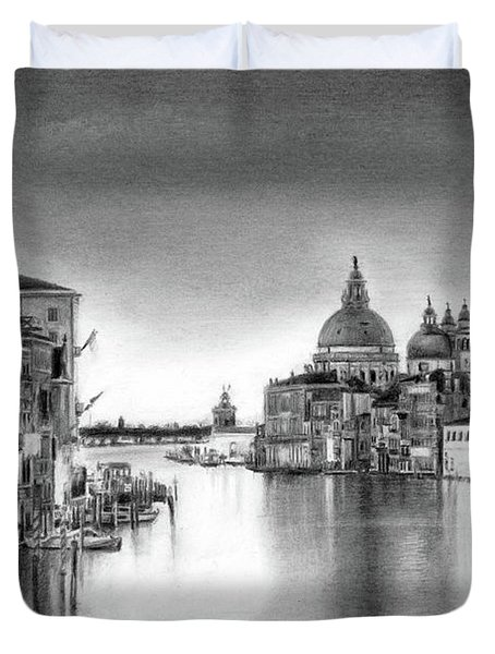 Venice Pencil Drawing Duvet Cover