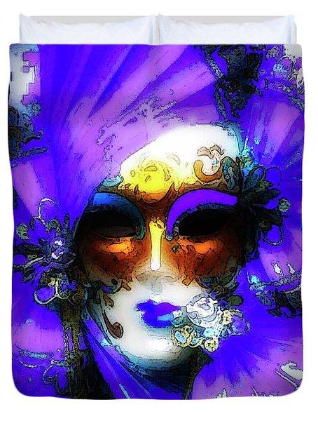 Venice Purple Carnival Mask Duvet Cover