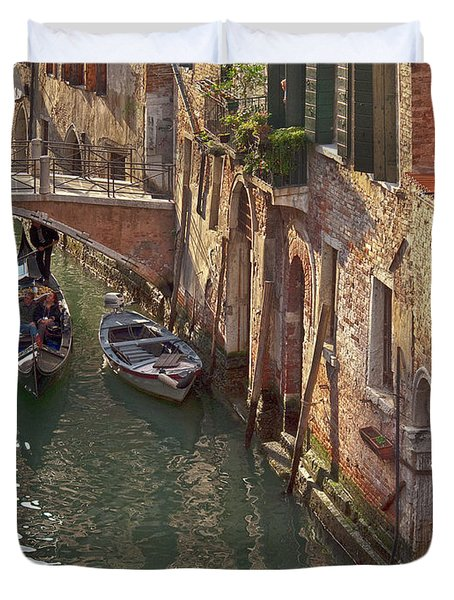Venice Ride With Gondola Duvet Cover by Heiko Koehrer-Wagner