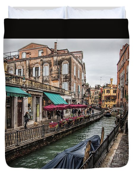 Duvet Cover featuring the photograph Venice 'streets' by Shirley Mangini