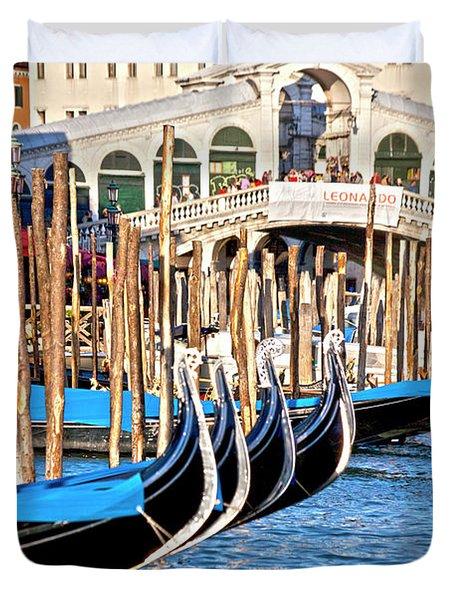 Venice Sunny Rialto Bridge Duvet Cover by Heiko Koehrer-Wagner