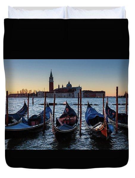 Venice Sunrise With Gondolas Duvet Cover by Evgeni Dinev