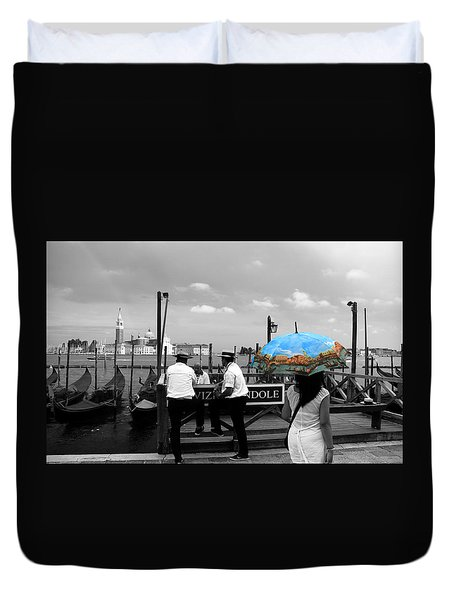 Duvet Cover featuring the photograph Venice Umbrella by Andrew Fare