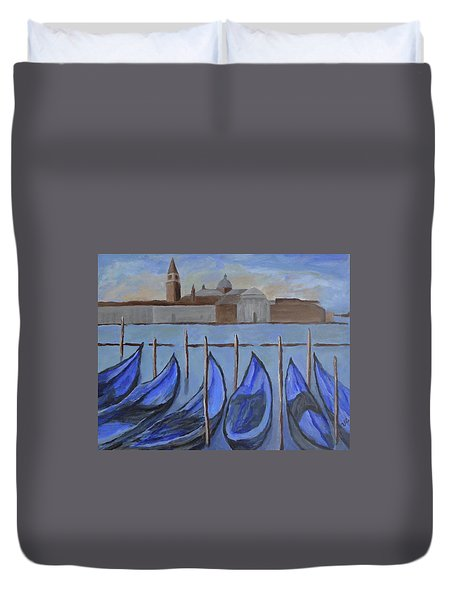 Duvet Cover featuring the painting Venice by Victoria Lakes