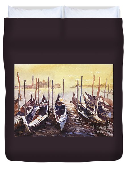 Duvet Cover featuring the painting Venice Watercolor- Italy by Ryan Fox