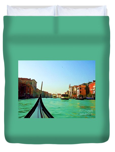 Duvet Cover featuring the photograph Venice Waterway by Roberta Byram