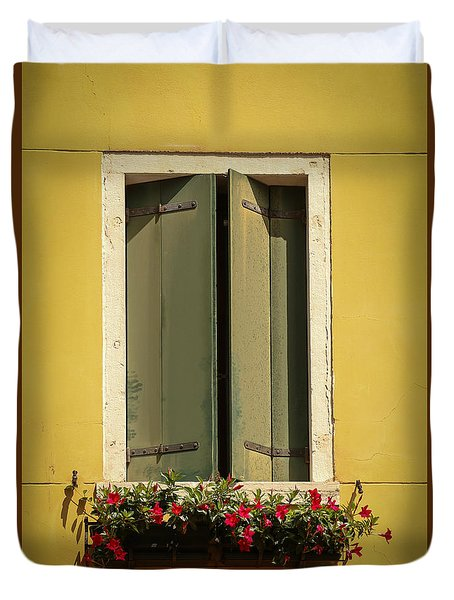 Venice Window In Green Duvet Cover