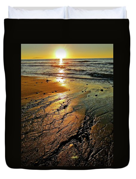 Ventura Beach Winter Sunset Duvet Cover
