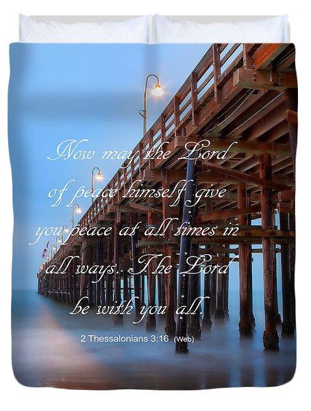Ventura Ca Pier With Bible Verse Duvet Cover by John A Rodriguez