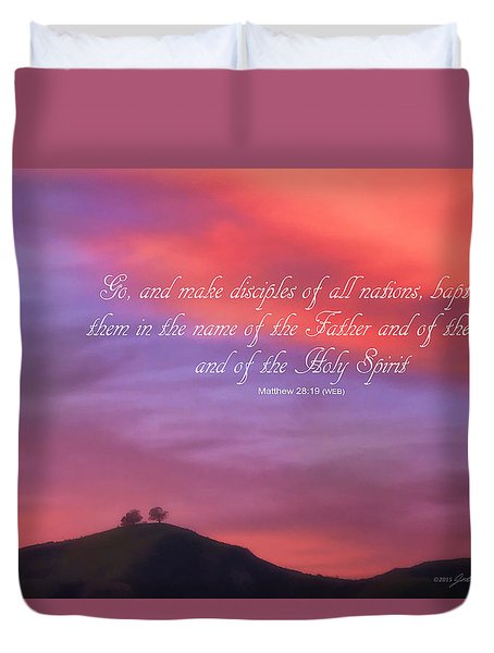 Ventura Ca Two Trees At Sunset With Bible Verse Duvet Cover by John A Rodriguez