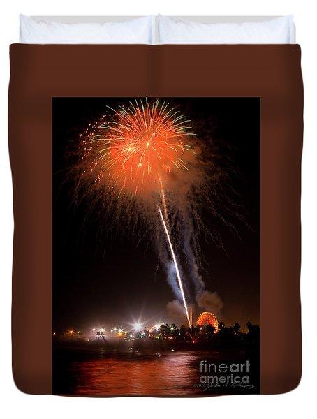 Ventura California Fair Fireworks Duvet Cover by John A Rodriguez