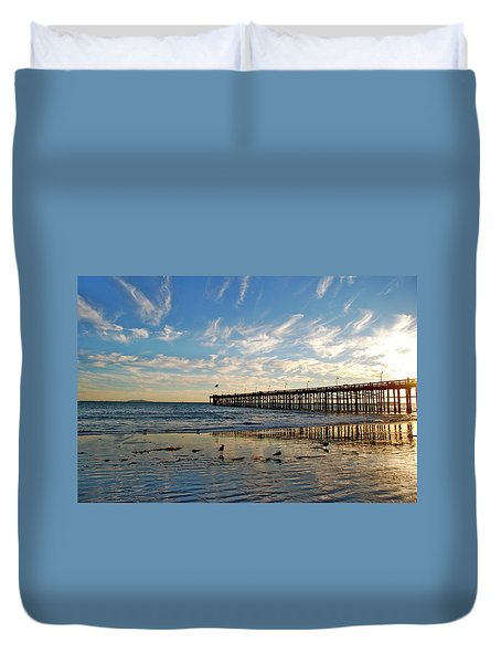 Ventura Pier At Sunset Duvet Cover
