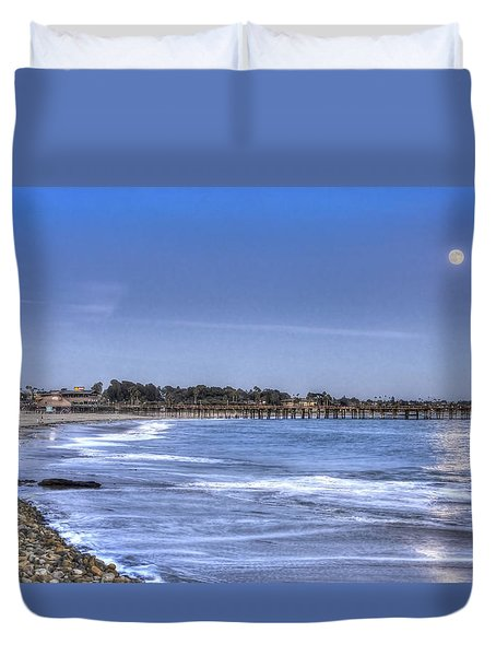 Ventura Pier Moonrise Duvet Cover