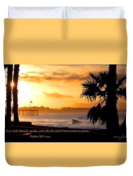 Duvet Cover featuring the photograph Ventura California Sunrise With Bible Verse by John A Rodriguez