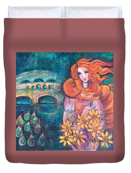 Duvet Cover featuring the painting Venus And Sunflowers by Laurie Maves ART