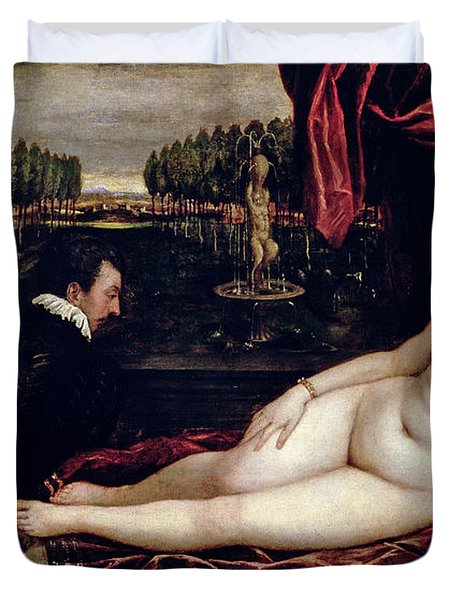 Venus And The Organist Duvet Cover by Titian