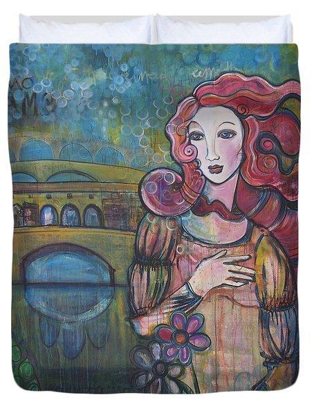 Venus And The Ponte Vecchio  Duvet Cover