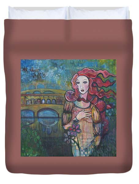 Venus And The Ponte Vecchio  Duvet Cover