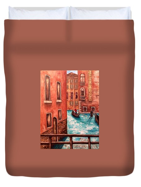Duvet Cover featuring the painting Venice by Annamarie Sidella-Felts