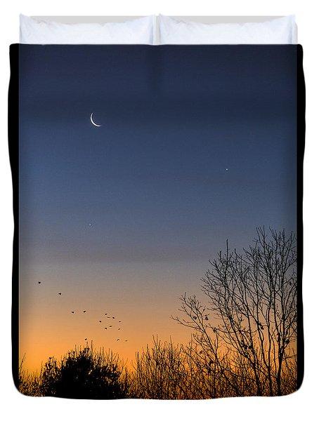 Venus, Mercury And The Moon Duvet Cover