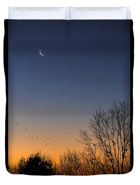 Venus, Mercury And The Moon Duvet Cover