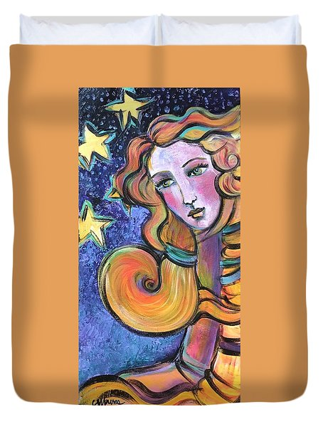 Duvet Cover featuring the painting Venus Of Barbosso  by Laurie Maves ART