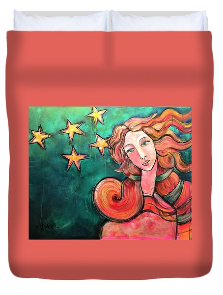 Duvet Cover featuring the painting Venus Of The Stars by Laurie Maves ART
