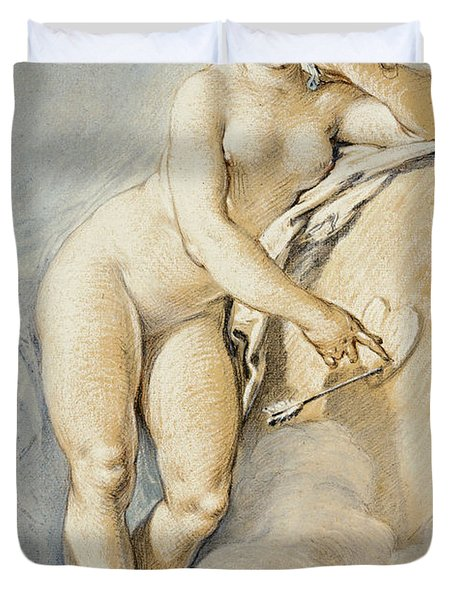 Venus Standing, Gesturing Towards A Heart On A Target With Two Doves Duvet Cover