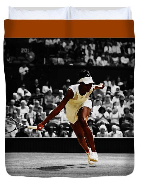 Venus Williams In Pursuit Duvet Cover by Brian Reaves