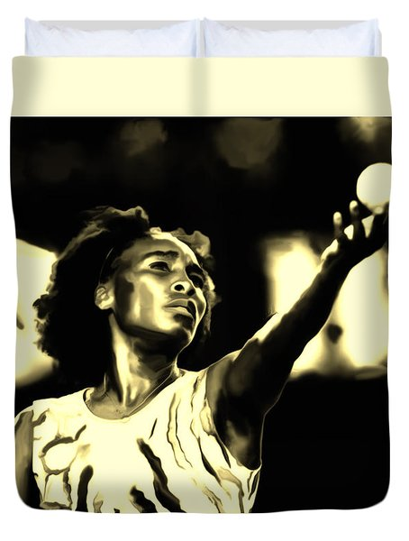 Venus Williams Match Point Duvet Cover by Brian Reaves