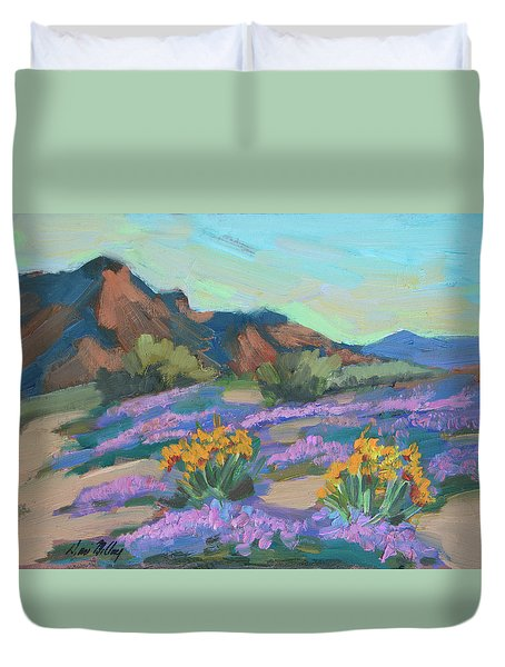 Duvet Cover featuring the painting Verbena And Spring by Diane McClary