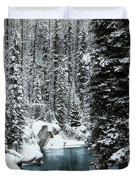 Verdant Creek - Winter 1 Duvet Cover by Stuart Turnbull