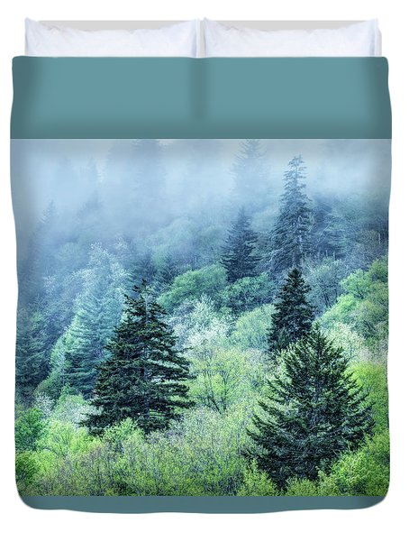 Verdant Forest In The Great Smoky Mountains Duvet Cover