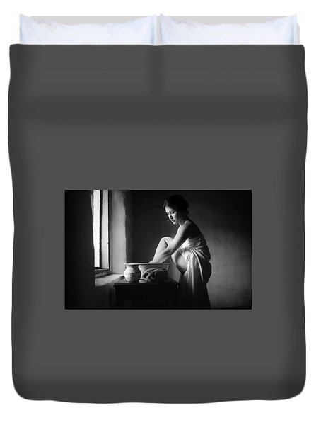 Duvet Cover featuring the photograph Vermeer Footwasher by Jennifer Wright
