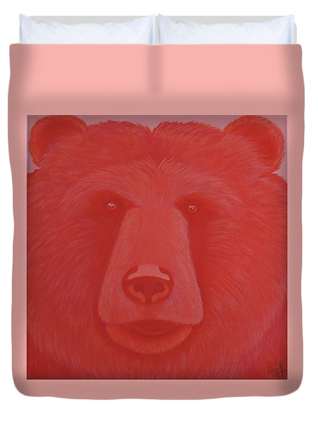 Vermillion Bear Duvet Cover