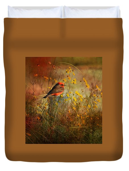 Vermilion Flycatcher At St. Marks Duvet Cover