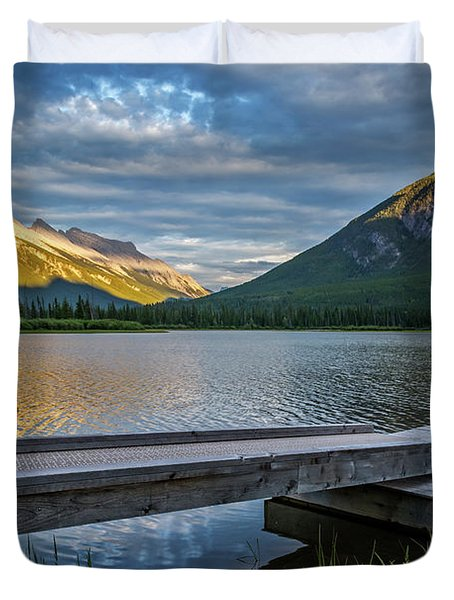 Vermillion Lakes And Mt Rundle Sunset Duvet Cover