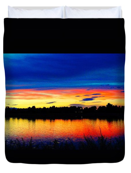 Vermillion Sunset Duvet Cover by Eric Dee