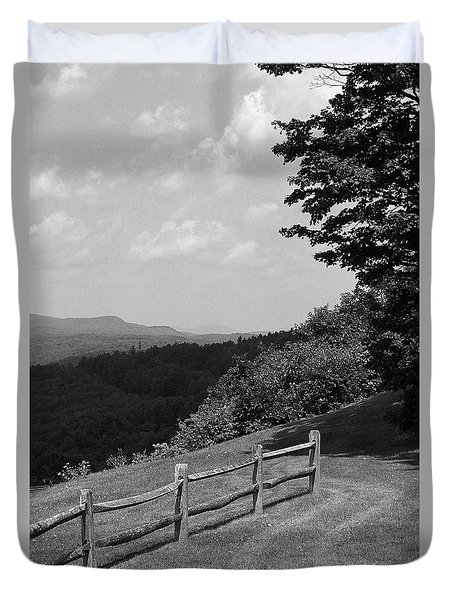 Duvet Cover featuring the photograph Vermont Countryside 2006 Bw by Frank Romeo