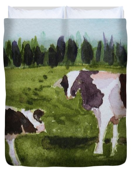 Duvet Cover featuring the painting Vermont Cow And Calf by Donna Walsh
