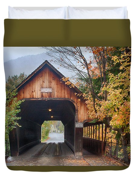 Vermont Fall Colors Over The Middle Bridge Duvet Cover by Jeff Folger