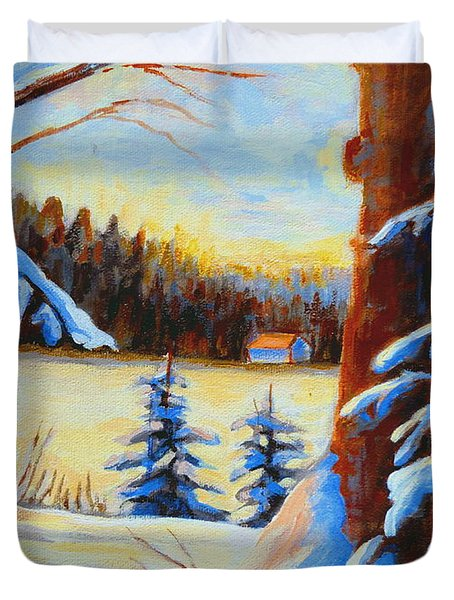 Vermont Log Cabin Maple Syrup Time Duvet Cover by Carole Spandau