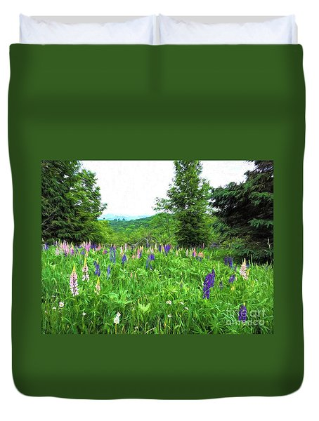 Vermont Lupine Duvet Cover by Mim White