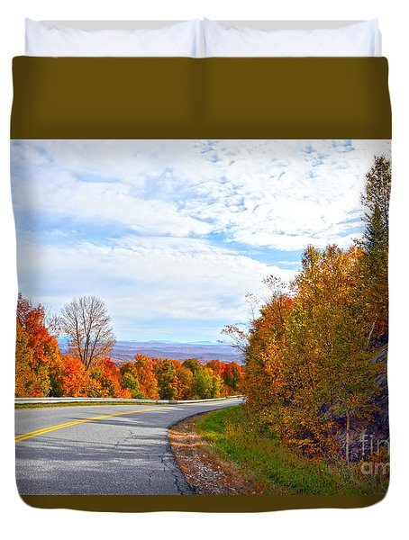 Vermont Mountain Road Duvet Cover by Catherine Sherman