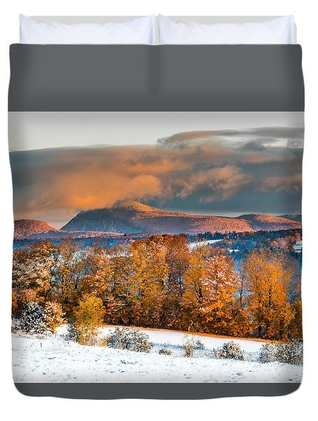 Vermont Snowliage Scene Duvet Cover by Tim Kirchoff