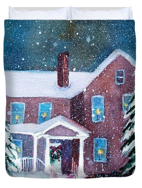 Duvet Cover featuring the painting Vermont Studio Center In Winter by Donna Walsh