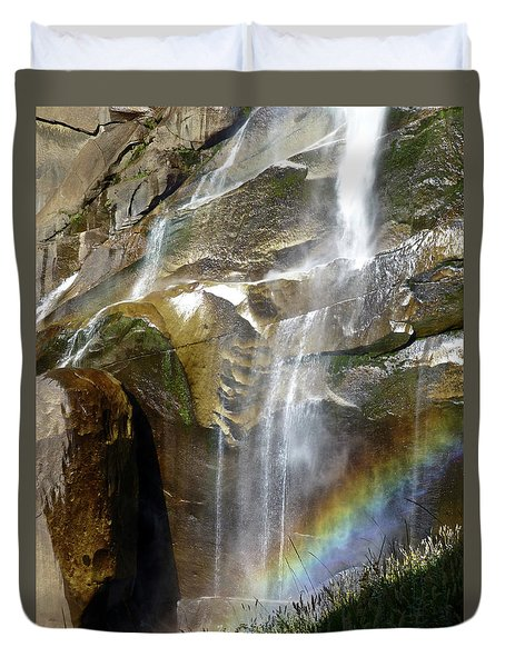 Vernal Falls Rainbow And Plants Duvet Cover by Amelia Racca