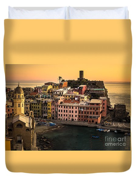 Vernazza At Sunset Duvet Cover