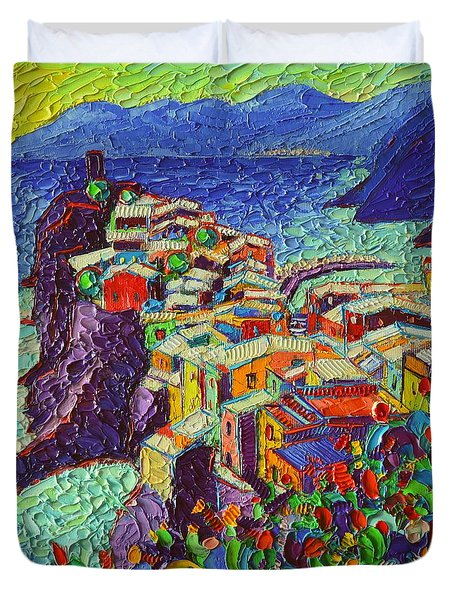 Vernazza Cinque Terre Italy 2 Modern Impressionist Palette Knife Oil Painting By Ana Maria Edulescu  Duvet Cover