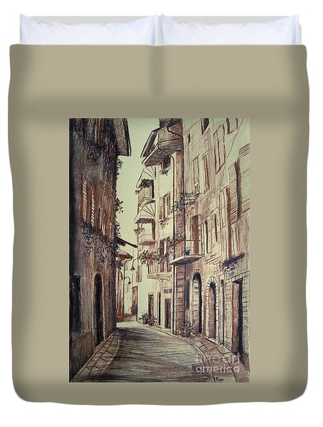 Verona Drawing Of A Narrow Street Duvet Cover